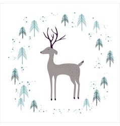 Deer in winter pine forest isolated on white vector