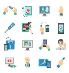 Digital Health Icons Flat Set vector