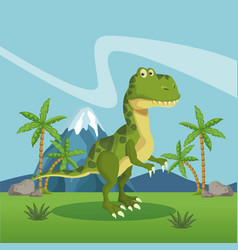 dinosaur in the forest vector image