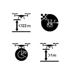Drone proper control black glyph manual label vector