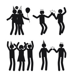 Dynamic poses of people at party white silhouettes vector