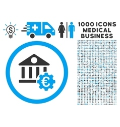 Euro Bank Settings Icon with 1000 Medical Business vector image