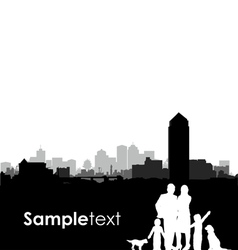 Family and dogs cityscape vector