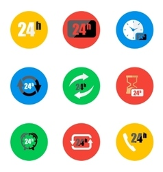 Flat 24 hours icons set vector