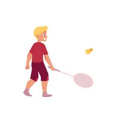 Flat boy playing badminton shuttlecock vector