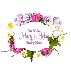 floral bouquet of flowers for wedding card vector image
