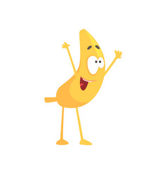 Funny happy banana cartoon fruit character vector