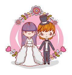 Girl and boy couple marriage with branches vector