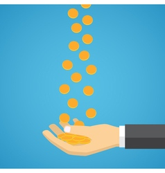 Gold coins fall into the hand vector