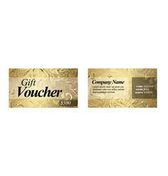 golden gift card voucher template vector image
