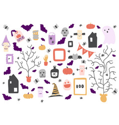 halloween icons set design elements for a holiday vector image