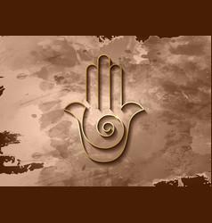 hamsa hand spiral icon gold line art old vintage vector image