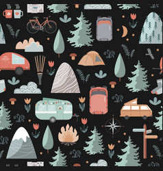 Hand drawn seamless pattern with summer vector