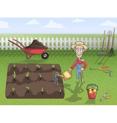 Happy gardener character at work vector
