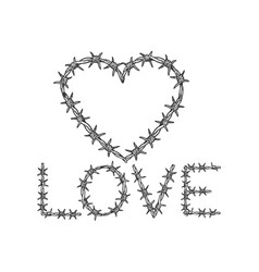 heart symbol barb wire sketch engraving vector image