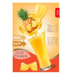 Label of pineapple juice splash in a glass desing vector