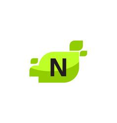 leaf initial n logo design template vector image