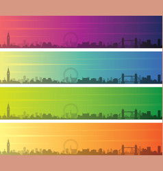 london multiple color gradient skyline banner vector image