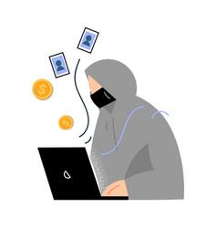 Man criminal robbing money and stealing vector