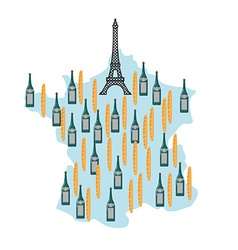Map of France with Eiffel Tower in Paris National vector