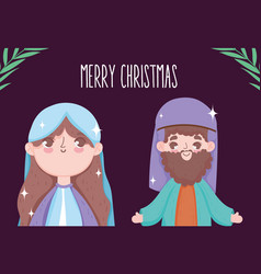 mary and joseph cartoon manger nativity merry vector image