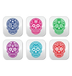 Mexican sugar skull dia de los muertos colorful b vector