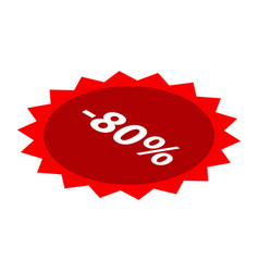 minus 80 percent sale red icon isometric style vector image
