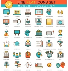 Modern online education flat line icon set vector image