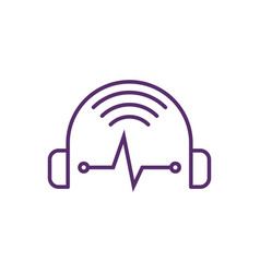music streaming outline icon logo headphone vector image