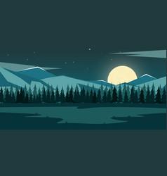 Nature mountains landscape moonlight rocky vector