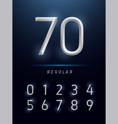 Numbers alphabet silver metallic and effect vector