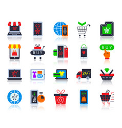 Online shop simple flat color icons set vector