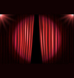 opening stage curtains with bright projectors vector image