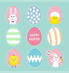 Painted colorful pattern egg frame set bunny vector