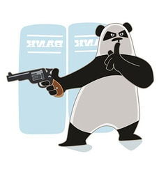 Panda with a gun vector