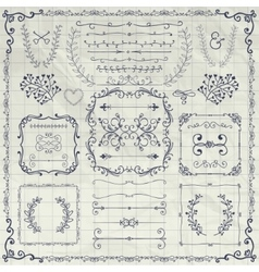 Pen Drawing Decorative Doodle Design Elements vector image