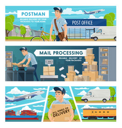Postmen post office and parcels mail delivery vector