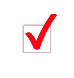 Red tick marker checkmark square box icon vector
