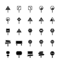 Road signs and junctions glyph icons pack vector