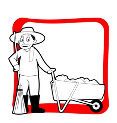 Road sweeper with red frame vector