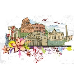 rome doodles with floral vector image