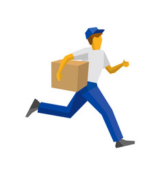 Running delivery man holding carton box vector