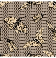 Seamless pattern with butterflies on net vector