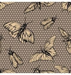 Seamless pattern with butterflies on net vector