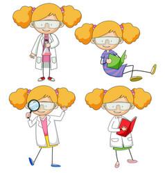 set doodle scientist vector image
