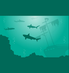 Silhouette of shark and ship on underwater vector