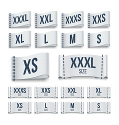 Size clothing fabric ribbon labels garment tags vector