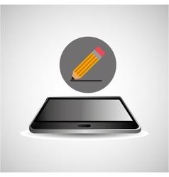 Smartphone black lying icon pencil design vector