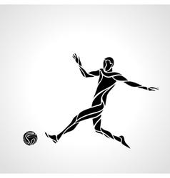 soccer or football player kicks ball vector image