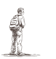 Student in medical face mask stands with backpack vector